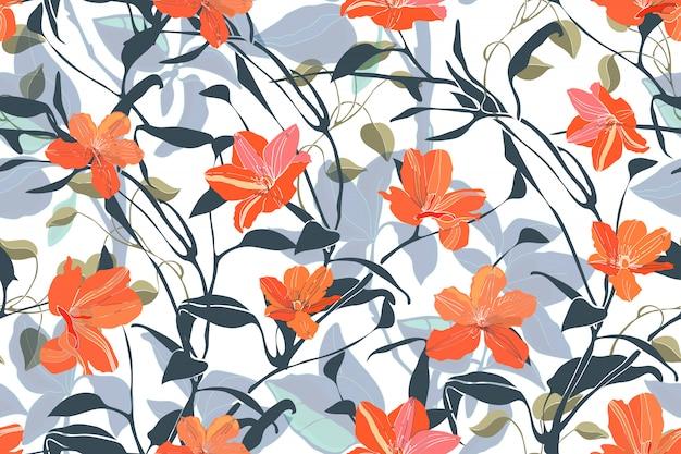 Nahtloses mit blumenmuster der kunst. orange blumen getrennt auf weißem hintergrund