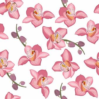 Nahtloses mit blumenmuster der rosa orchidee. blumen blühen blütenlaub