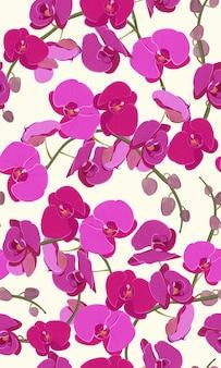 Nahtloses mit blumenmuster der rosa orchidee
