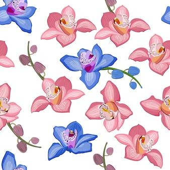 Nahtloses mit blumenmuster der rosa und blauen orchidee