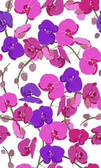 Nahtloses mit blumenmuster der rosa und purpurroten orchidee