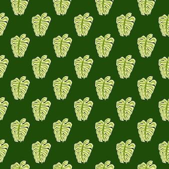 Nahtloses mit blumenmuster der tropischen natur mit einfachem grünem monstera-silhouettendruck. gekritzel-ornament.