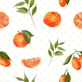 Nahtloses mit blumenmuster der weinlese mit orangen und niederlassungen