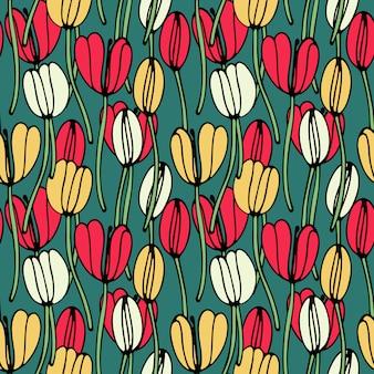 Nahtloses mit blumenmuster der weinlese mit tulpen