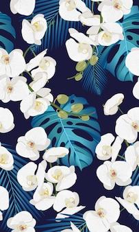 Nahtloses mit blumenmuster der weißen orchidee mit tropischen blättern