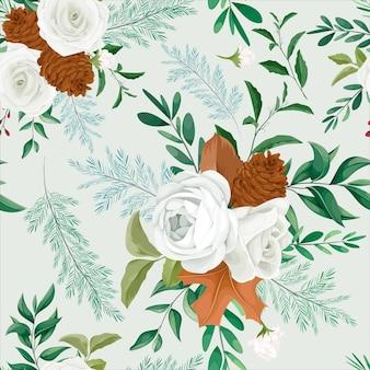 Nahtloses mit blumenmuster des süßen herbstes mit rosen- und kiefernblume