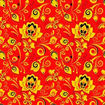 Nahtloses mit blumenmuster im russischen art khokhloma
