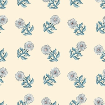 Nahtloses mit blumenmuster mit blauen sonnenblumenelementen. heller hintergrund. sommerhintergrund im handgezeichneten stil. vektorillustration für saisonale textildrucke, stoffe, banner, hintergründe und tapeten.