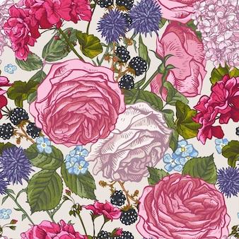 Nahtloses mit blumenmuster mit blühenden rosen