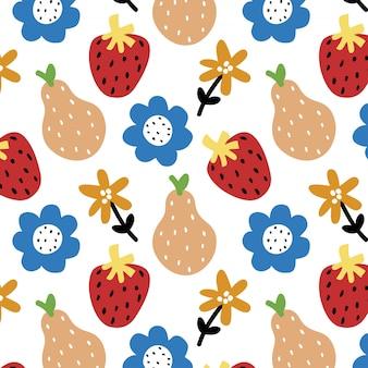 Nahtloses mit blumenmuster mit erdbeeren und birnen