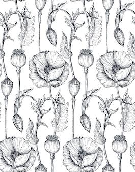 Nahtloses mit blumenmuster mit hand gezeichneten mohnblumen und -blättern. monochrome vektorillustration im skizzenstil.