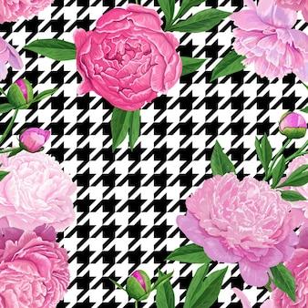 Nahtloses mit blumenmuster mit rosa pfingstrosen-blumen. frühling blühende blumen hintergrund für stoff, drucke, hochzeitsdekoration, einladung, tapeten, geschenkpapier. vektor-illustration