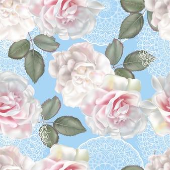 Nahtloses mit blumenmuster mit rose und spitze