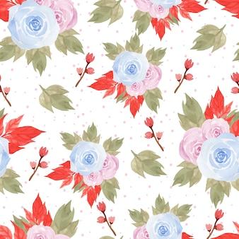 Nahtloses mit blumenmuster mit schönen blauen und rosa rosen