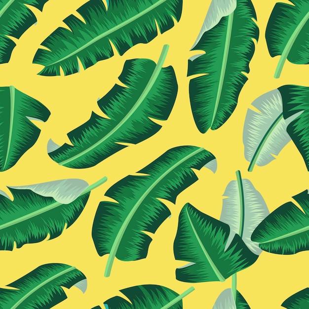 Nahtloses mit blumenmuster mit tropischem hintergrund der bananenblätter