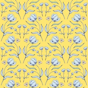 Nahtloses mit blumenmuster. schöne botanische wiederholungstextur mit ästen, blättern und blumen für druck, stoff, textil, tapete in sanften farben. handgezeichnete tintenillustration im kunststil.
