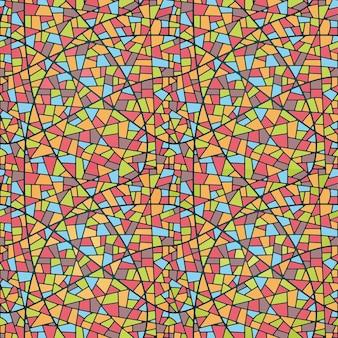 Nahtloses mosaikmuster der illustration. glasmalerei stil
