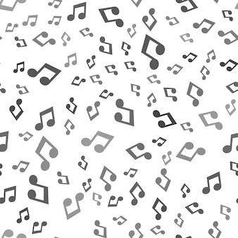 Nahtloses musikmuster auf weißem hintergrund. einfaches kreatives design der musikikone. kann für tapeten, webseitenhintergrund, textilien, druck-ui/ux verwendet werden