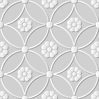 Nahtloses muster 3d-papierkunst runde kreuzrahmenblume