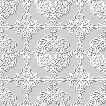 Nahtloses muster 3d-papierkunst-spiralkurve royal deco-rahmen