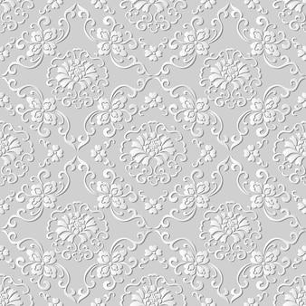 Nahtloses muster 3d-papierkunstmuster botanisches kreuz spiralblumenrebe