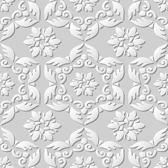 Nahtloses muster 3d-papierkunstmuster feder polygon spiral kreuz blume