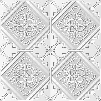 Nahtloses muster 3d weißes papier hintergrundquadrat überprüfen kreuz runden blumenrahmen