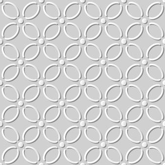 Nahtloses muster 3d weißes papier schneiden kunst hintergrundkurve kreuzlinie blume