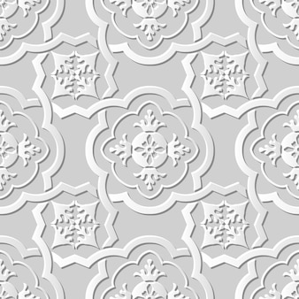 Nahtloses muster 3d weißes papier schneiden kunst hintergrundkurve kreuzrahmen blumenkaleidoskop