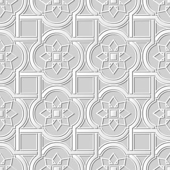 Nahtloses muster 3d weißes papier schneiden kunst hintergrundkurve quadratische kreuzrahmen sternblume