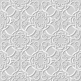 Nahtloses muster 3d weißes papier schneiden kunst hintergrundkurve spiral kreuz rahmenlinie