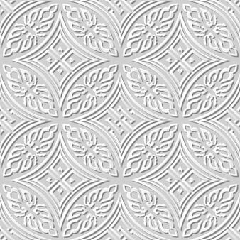Nahtloses muster 3d weißes papier schneiden kunst runde eingeborene kreuzgeometrie