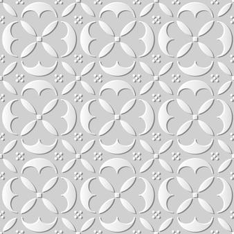 Nahtloses muster 3d weißes papier schneiden kunsthintergrund elegante runde kurve kreuzgeometrie