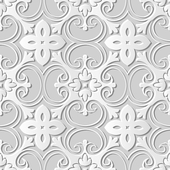 Nahtloses muster 3d weißes papier schneiden kunsthintergrund exotische kurve spiral kreuz blume