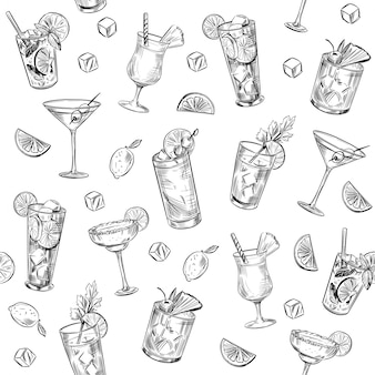 Nahtloses muster. alkoholcocktails. hintergrund. martini, mojito, pina colada, margarita.