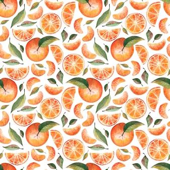 Nahtloses muster aquarell mandarinen und blätter