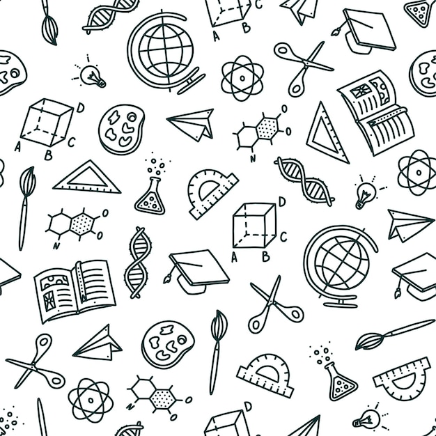 Nahtloses muster auf dem thema zurück zum schulthema handgezeichnete objekte, die in der schule benötigt werden