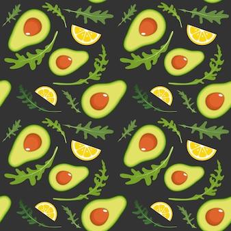 Nahtloses muster auf dunkel mit avocado, rucola und zitronenscheibe.
