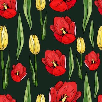 Nahtloses muster auf dunklem hintergrund aus blühenden tulpen. zarter abstrakter blumendruck.