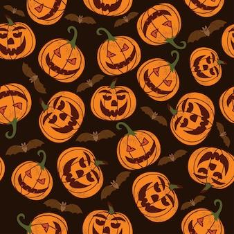 Nahtloses muster auf einem dunklen hintergrund am feiertag - halloween. kürbisse, ein geist, eine fledermaus. vektor-illustration.