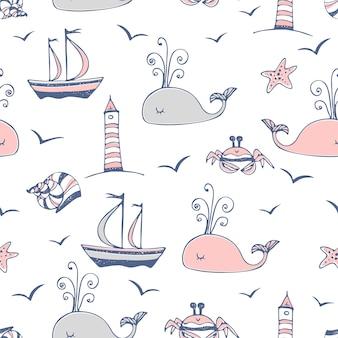 Nahtloses muster auf einem meeresthema mit schiffen und walen.