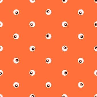 Nahtloses muster auf einem orangefarbenen hintergrund augen in einer flachen art halloween-vektorillustration