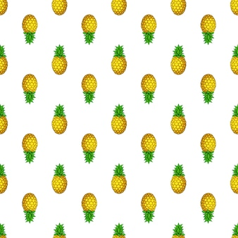 Nahtloses muster auf und ab tropische früchte ananas vektor-illustration