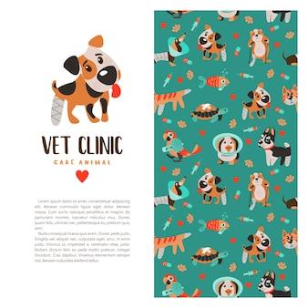 Nahtloses muster auf weißem hintergrund für tierkliniken und tierheime