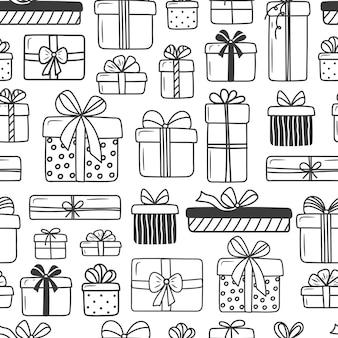 Nahtloses muster auf weißem hintergrund. geschenke im doodle-stil, viele verschiedene süße schachteln mit schleifen.