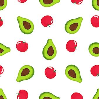 Nahtloses muster aus avocado und roter tomate. bio vegetarisches essen. wird für designoberflächen, stoffe, textilien und verpackungspapier verwendet.