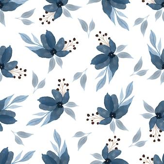 Nahtloses muster aus blauen wildblumen für hintergrund- und stoffdesign