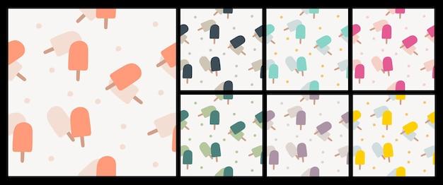 Nahtloses muster aus bunten popsicle-stoff-modemustern