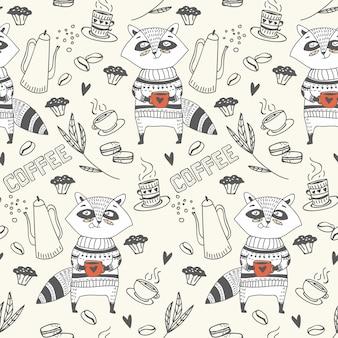 Nahtloses muster aus cute doodle raccoon mit kaffee
