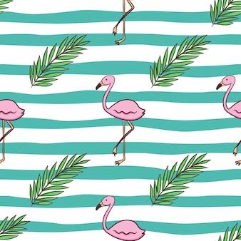 Nahtloses muster aus flamingo und palmblättern mit farbigem doodle-stil